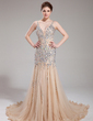 Trumpet/Mermaid V-neck Chapel Train Tulle Prom Dress With Beading (018018993)