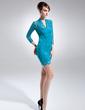 Kılıf V Yaka Kısa/Mini Lace Gelin Annesi Elbisesi (008015694)