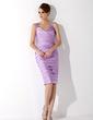 Kılıf Kalp Kesimli Diz Hizası Saten Gelin Annesi Elbisesi Ile Büzgü Boncuk (008006163)