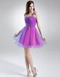 Çan/Prenses Tek-Omuzlu Kısa/Mini Tulle Mezunlar Gecesi Elbisesi Ile Büzgü Boncuklama (022008125)