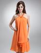 Sheath/Column Halter Knee-Length Chiffon Homecoming Dress With Beading (022016245)