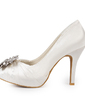 Women's Satin Cone Heel Closed Toe Platform Pumps With Rhinestone (047015212)