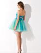 Yüksek Bel Kalp Kesimli Kısa/Mini Taffeta Tulle Mezunlar Gecesi Elbisesi Ile Büzgü Boncuklama Pullarda (022010551)