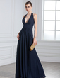 A-Line/Princess Halter Floor-Length Chiffon Evening Dress With Ruffle (017020328)