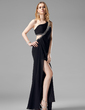 Sheath/Column One-Shoulder Floor-Length Chiffon Evening Dress With Ruffle Beading Split Front (017004365)
