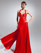 A-Line/Princess V-neck Floor-Length Charmeuse Prom Dress With Beading (018015072)