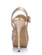 Leatherette Sparkling Glitter Stiletto Heel Sandals Platform Peep Toe Slingbacks With Buckle shoes (085026443)
