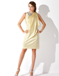 Sheath/Column Scoop Neck Knee-Length Charmeuse Cocktail Dress With Beading Cascading Ruffles (016021206)