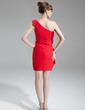Sheath/Column One-Shoulder Short/Mini Chiffon Cocktail Dress With Cascading Ruffles (016016260)