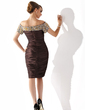Sheath/Column Off-the-Shoulder Knee-Length Charmeuse Mother of the Bride Dress With Ruffle Beading Sequins (008005919)