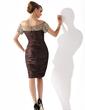 Kılıf Off-Omuz Diz Hizası Charmeuse Gelin Annesi Elbisesi Ile Büzgü Boncuklama Pullarda (008005919)