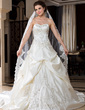 One-tier Lace Applique Edge Cathedral Bridal Veils With Embroidery (006036671)
