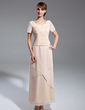 A-Line/Princess Scoop Neck Ankle-Length Chiffon Mother of the Bride Dress With Beading (008015061)