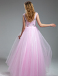 A-Line/Princess Scoop Neck Floor-Length Tulle Prom Dress With Beading Sequins (018018997)