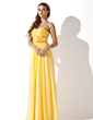 A-Line/Princess Sweetheart Floor-Length Chiffon Prom Dress With Ruffle Beading Flower(s) (018013789)