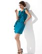 Kılıf Yuvarlak Yaka Kısa/Mini Charmeuse Gelin Annesi Elbisesi (008013760)