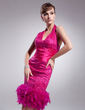Sheath/Column Halter Knee-Length Sequined Cocktail Dress With Ruffle Feather (016014257)