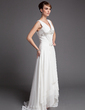 A-Line/Princess V-neck Asymmetrical Chiffon Mother of the Bride Dress With Lace Beading Sequins Cascading Ruffles (008005972)