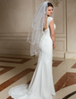 Three-tier Scalloped Edge Fingertip Bridal Veils With Beading/Sequin (006024471)