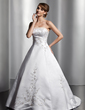 Ball-Gown Strapless Court Train Satin Wedding Dress With Embroidered Sash Beading (002014809)