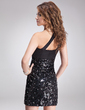 Sheath/Column One-Shoulder Short/Mini Charmeuse Sequined Cocktail Dress With Ruffle Beading (016008461)