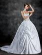 Ball-Gown Sweetheart Court Train Satin Wedding Dress With Embroidered Ruffle Beading (002017189)