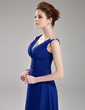 A-Line/Princess V-neck Knee-Length Chiffon Cocktail Dress With Ruffle Beading (016008330)