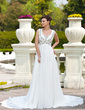 A-Line/Princess Sweetheart Chapel Train Chiffon Wedding Dress With Ruffle Beading (002011673)