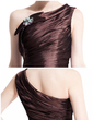 Sheath/Column One-Shoulder Knee-Length Taffeta Cocktail Dress With Ruffle Beading Bow(s) (016008831)