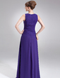 A-Line/Princess Scoop Neck Floor-Length Chiffon Mother of the Bride Dress With Ruffle (008005977)