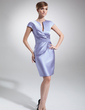 Sheath/Column V-neck Knee-Length Satin Mother of the Bride Dress With Ruffle (008006208)