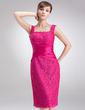 Wąska Kwadratowy Dekolt Do Kolan Taffeta Lace Suknia dla Mamy Panny Młodej Z Żabot Perełki (008006172)