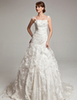 Ball-Gown Chapel Train Lace Wedding Dress With Ruffle Beading (002017566)
