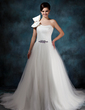 Ball-Gown One-Shoulder Chapel Train Tulle Wedding Dress With Ruffle Beading Bow(s) (002011944)