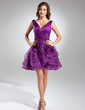 A-Line/Princess V-neck Short/Mini Organza Homecoming Dress With Cascading Ruffles (022015532)