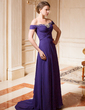 A-Line/Princess Off-the-Shoulder Sweep Train Chiffon Mother of the Bride Dress With Ruffle Beading (008024461)