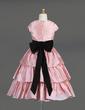 A-Line/Princess Tea-length Flower Girl Dress - Taffeta Sleeveless Scoop Neck With Ruffles/Sash/Flower(s)/Bow(s) (010014645)