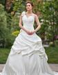 Balo Elbisesi Tek-Omuzlu Katedral Kuyruk Satin Gelinlik Ile Büzgü Çiçek(ler) (002000650)