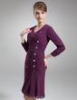 Linia A/Księżniczka Dekolt w Serek Do Kolan Chiffon Suknia dla Mamy Panny Młodej Z Żabot Perełki (008006539)