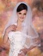 Zweischichtig Ellenbogen Braut Schleier mit Band Rand (006003748)