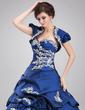 Balo Elbisesi Kalp Kesimli Uzun Etekli Taffeta Quinceanera (15 Yaş) Elbisesi Ile Büzgü Boncuklama Aplike Pullarda (021004677)