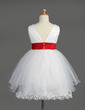 Empire Knee-length Flower Girl Dress - Satin/Tulle Sleeveless V-neck With Lace/Sash/Beading/Bow(s) (010014601)