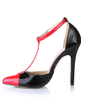 Women's Patent Leather Stiletto Heel Pumps Closed Toe With Split Joint shoes (085026437)