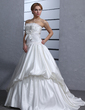 Ball-Gown Sweetheart Court Train Satin Wedding Dress With Ruffle Beading Appliques Lace Bow(s) (002011541)