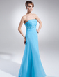 A-Line/Princess Strapless Floor-Length Chiffon Evening Dress With Ruffle Beading (017015787)