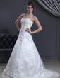 A-Line/Princess Sweetheart Court Train Tulle Wedding Dress With Lace Beading (002000126)