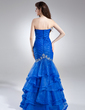 Trumpet/Mermaid Sweetheart Floor-Length Organza Prom Dress With Beading Cascading Ruffles (018015957)