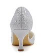 Women's Satin Spool Heel Closed Toe Pumps With Sequin (047039726)
