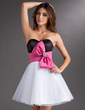 A-Line/Princess Sweetheart Short/Mini Satin Tulle Homecoming Dress With Sash Beading Bow(s) (022010495)