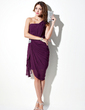 Sheath/Column One-Shoulder Asymmetrical Chiffon Cocktail Dress With Beading Cascading Ruffles (016021245)